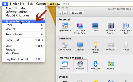 Figure 1. Click System Preferences link then click Network.