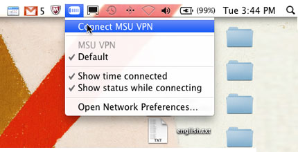 Figure 7. Click the VPN icon and then click Connect MSU VPN.