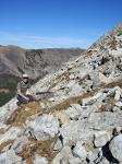 Ben Turnock sets a trap for hoary marmots, Anaconda-Pintler Mtns - summer 2015
