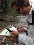 Ross Hinderer recording data on Chiricahua leopard frogs, NM - summer 2014