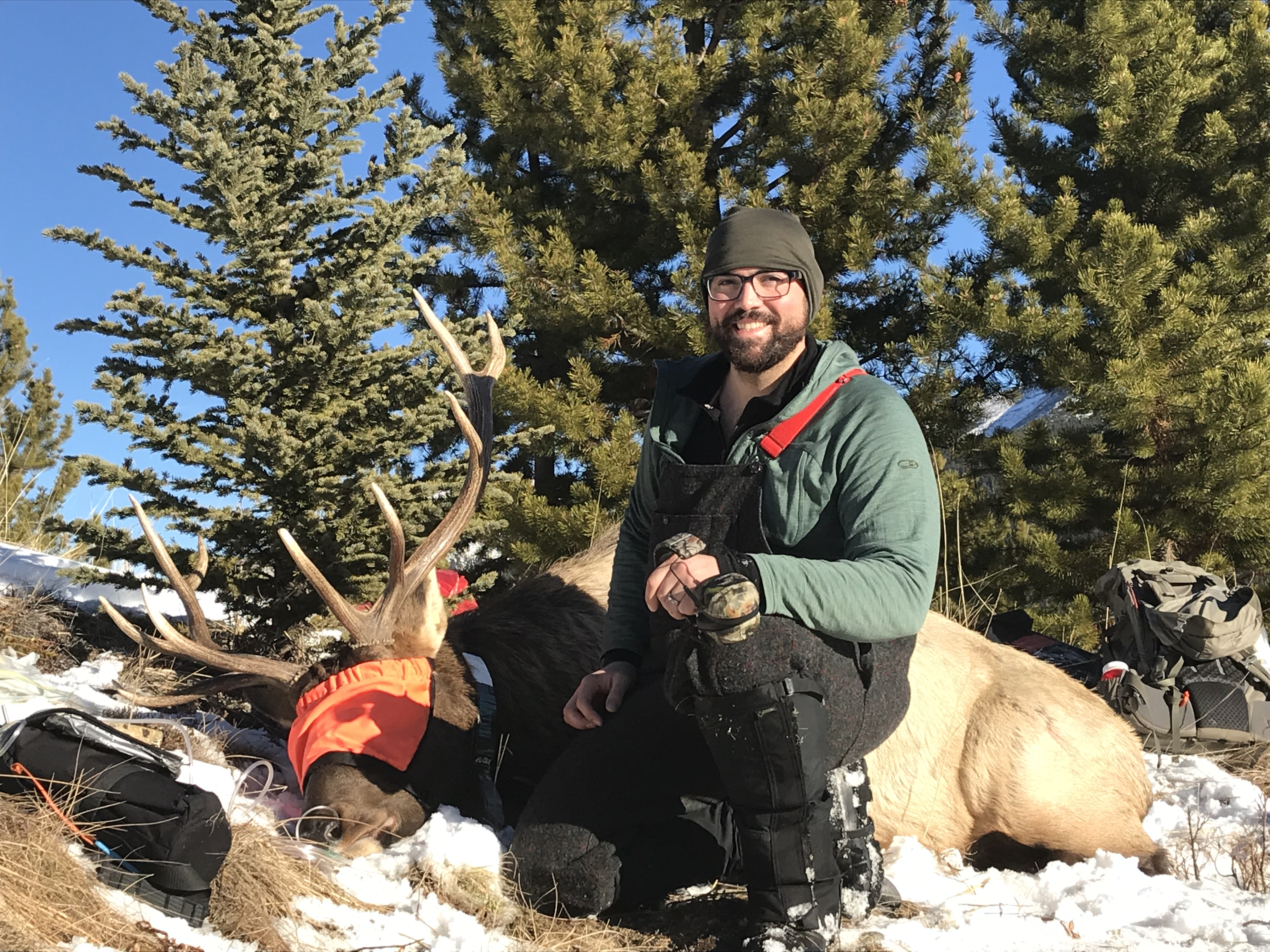 Thomas Sutton and an elk