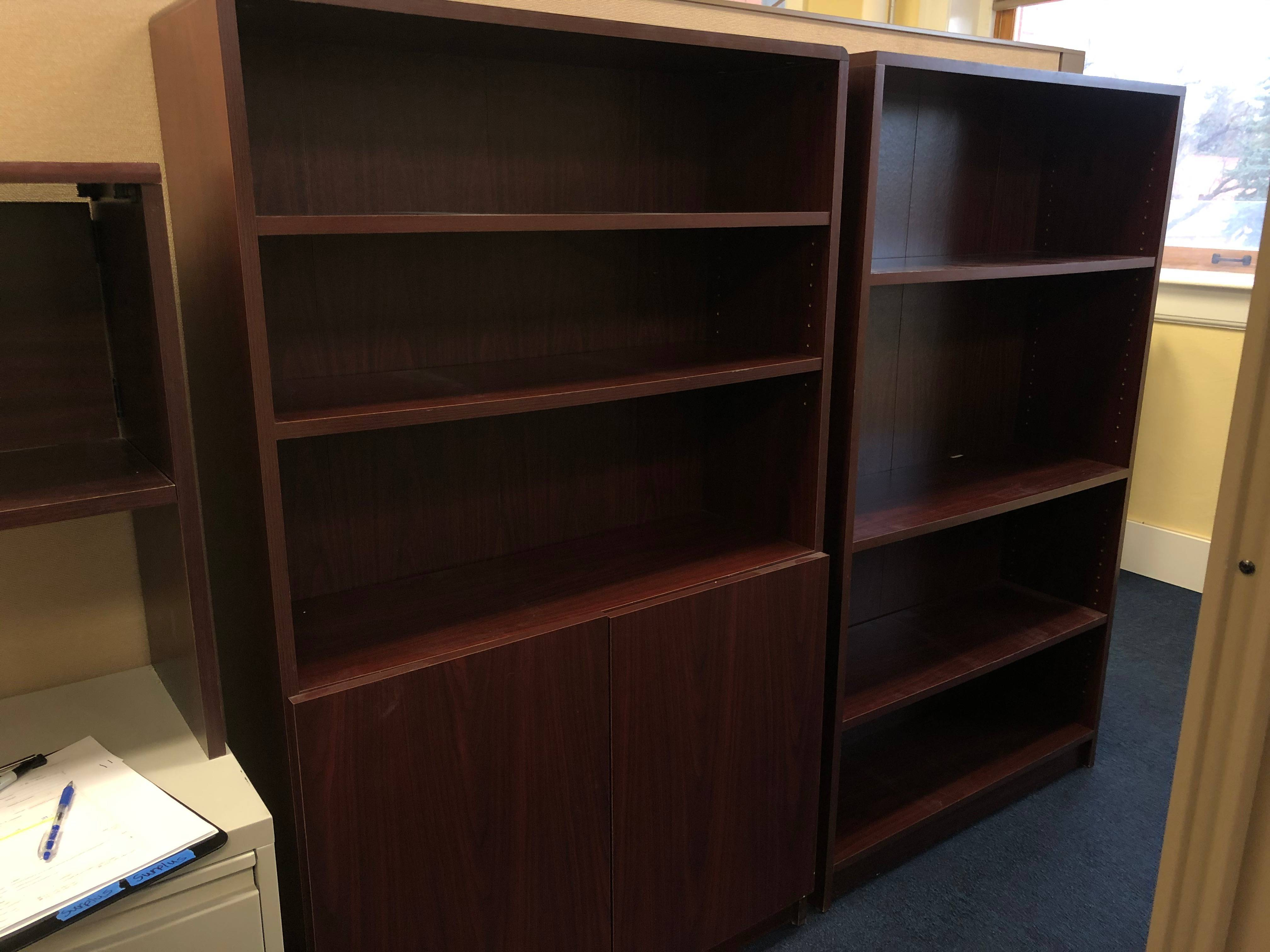 Red particle board book shelves