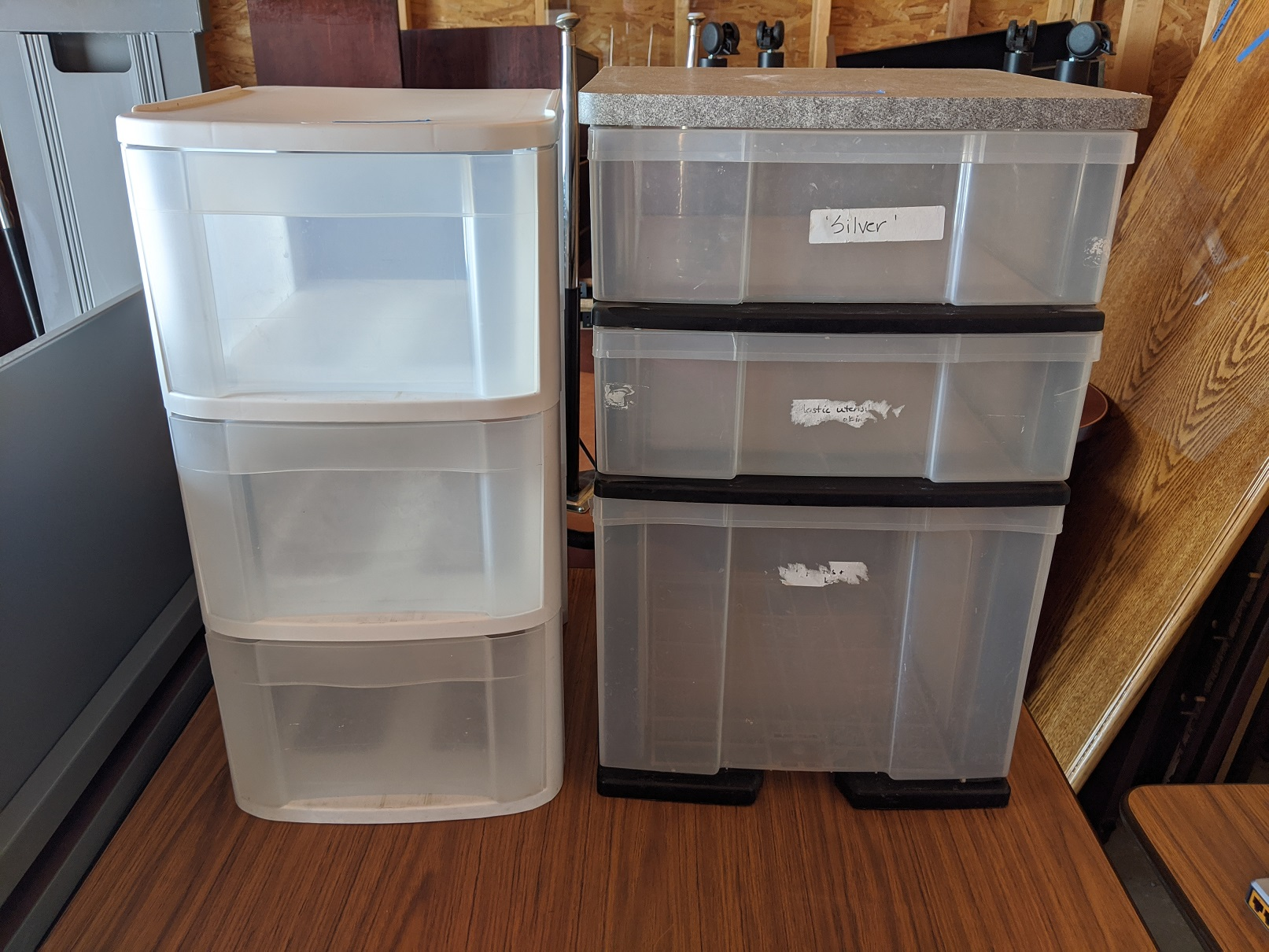 Two rubbermaid small storage cabinets with drawers