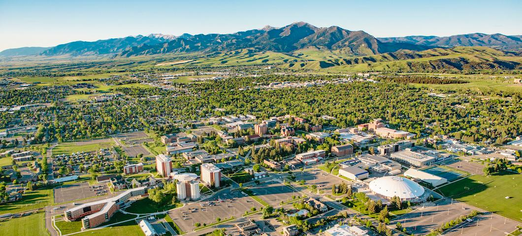 2018 aerial shot of MSU campus