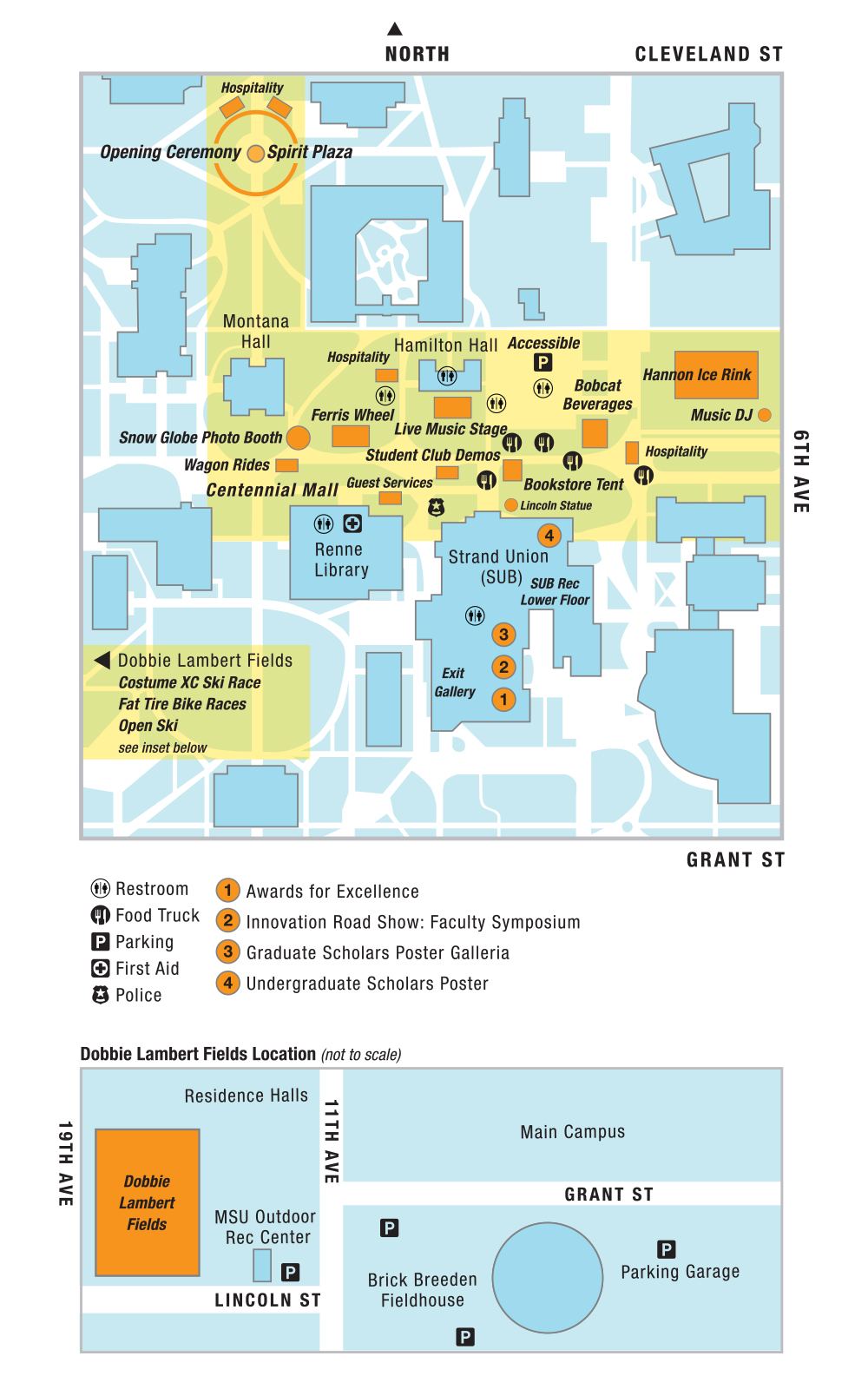 Campus map showing event locations