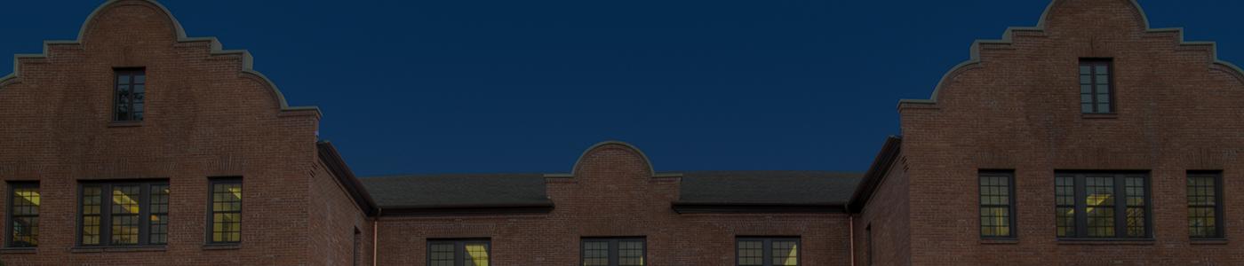 Hamilton Hall at dusk.