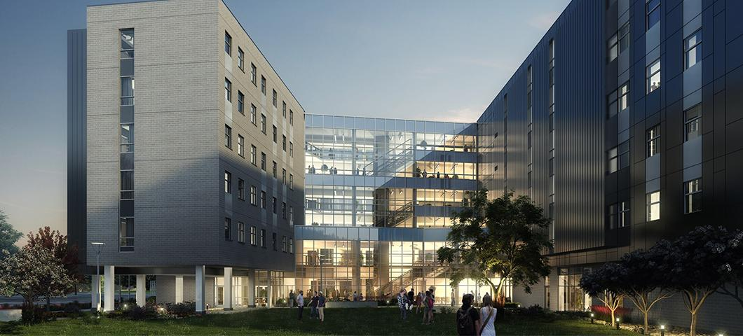 A rendering of the exterior of Hyalite Hall