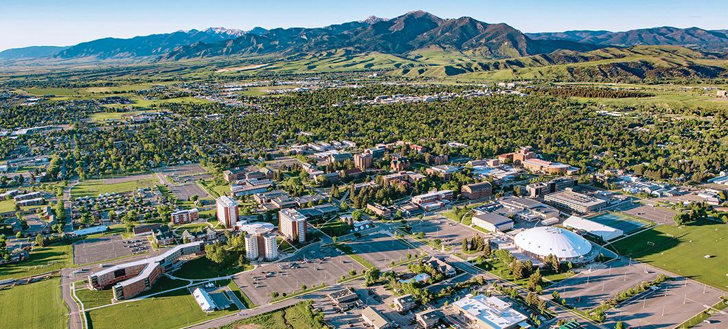 Aerial view of campus in summer