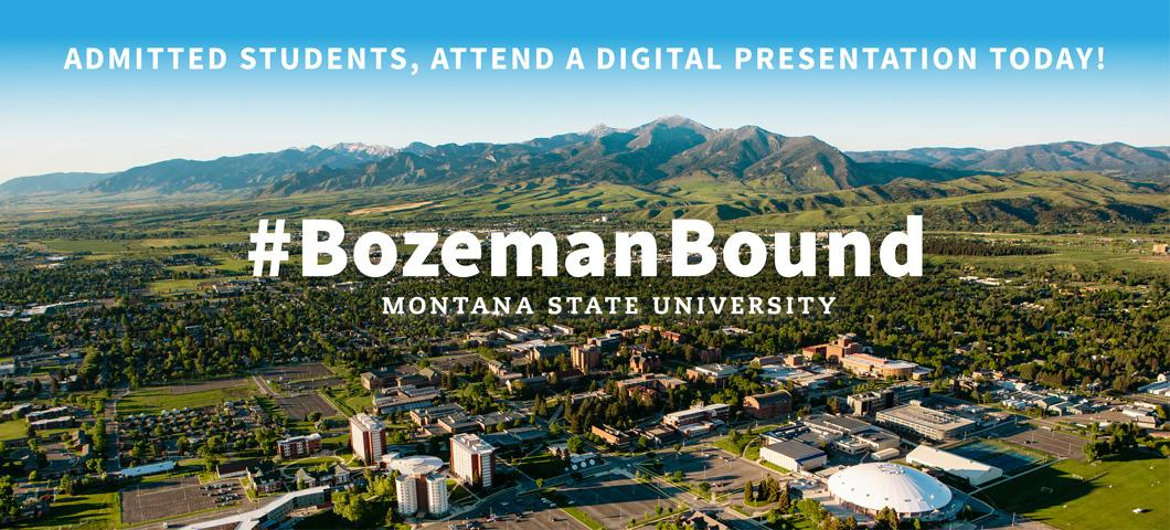 Admitted students, attend a digital presentation today. Bozeman Bound.