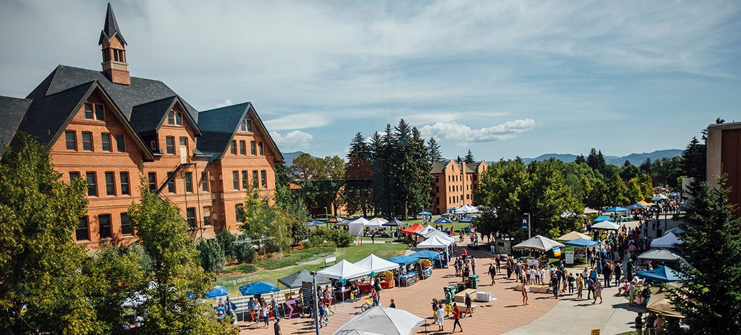 A view of the Centennial Mall during the club and activity fair in summer.