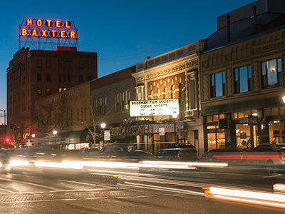 Long exposure of cars driving on Main street in Bozeman.