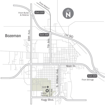 Map of Bozeman highlighting routes to campus.