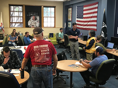 Students meet in the Veterans Center