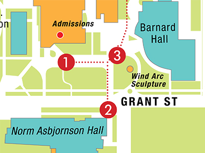 Campus map from walking tour.
