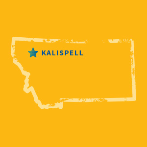 Map of Montana with Kalispell highlighted