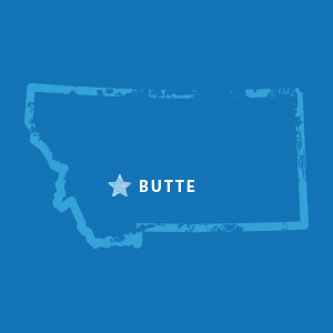 Map of Montana with Butte highlighted