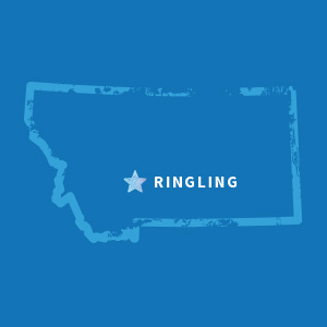 Map of Montana highlighting Ringling