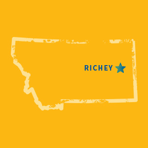 Map of Montana with Richey highlighted
