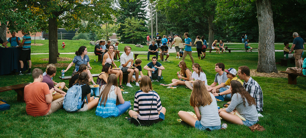 Students sitting in the Romney Oval during the welcome barbeuqe.