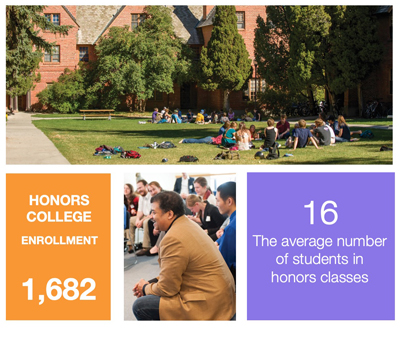 Honors college enrollment is 1,682. Average class size is 16.