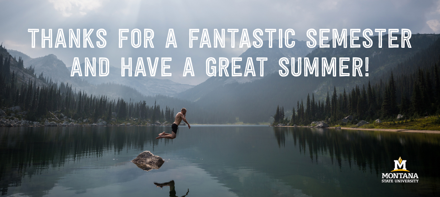 Thanks for a fantastic semester and have a great summer!