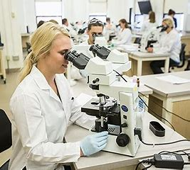 students in white lab coats looking under microscopes