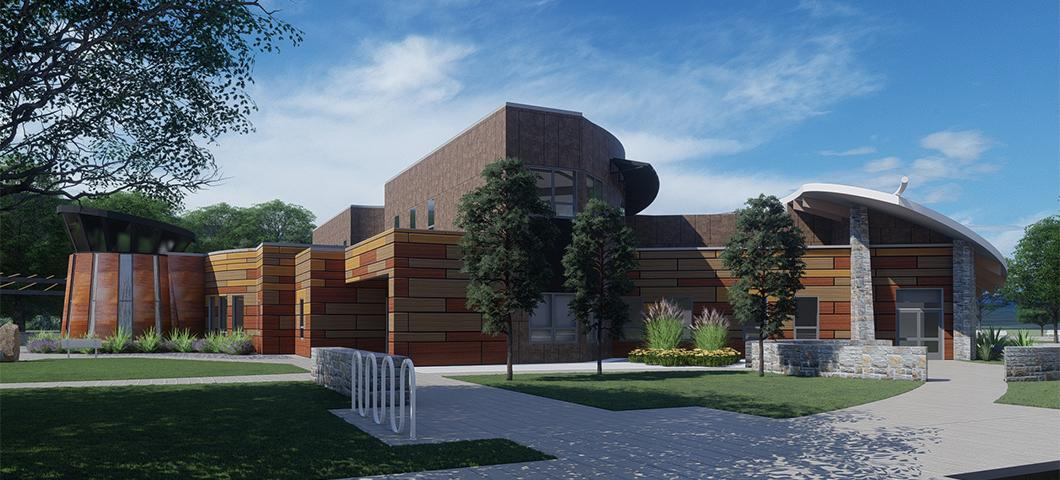 Architect's rendering of the side view of the American Indian Hall