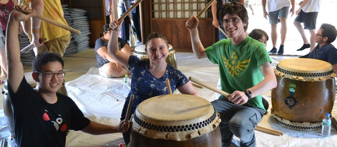 MSU student Todd Beckman played a Japanese drum when he studied in Japan in Summer 2015.