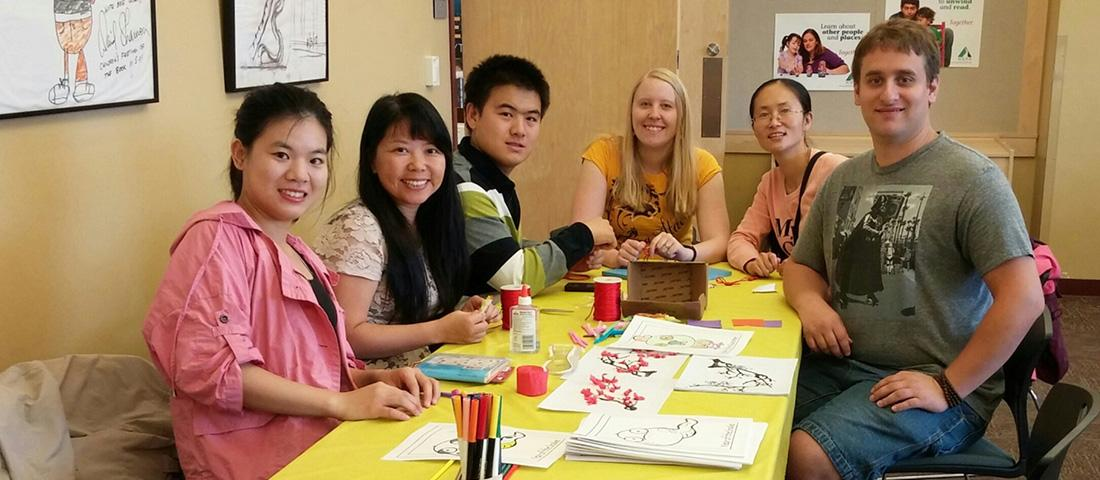 MSU Chinese Culture Club students and their faculty advisor Dr. Hua Li at Bozeman Children's Festival in Fall 2015.