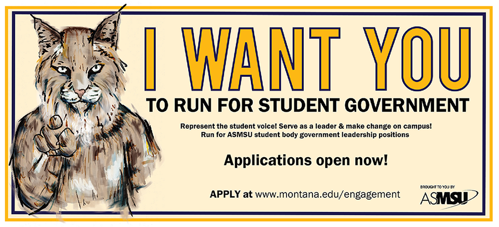 run for student government. march 6th opens and closes march 19th for president and Vice President. senator apps close April 3rd