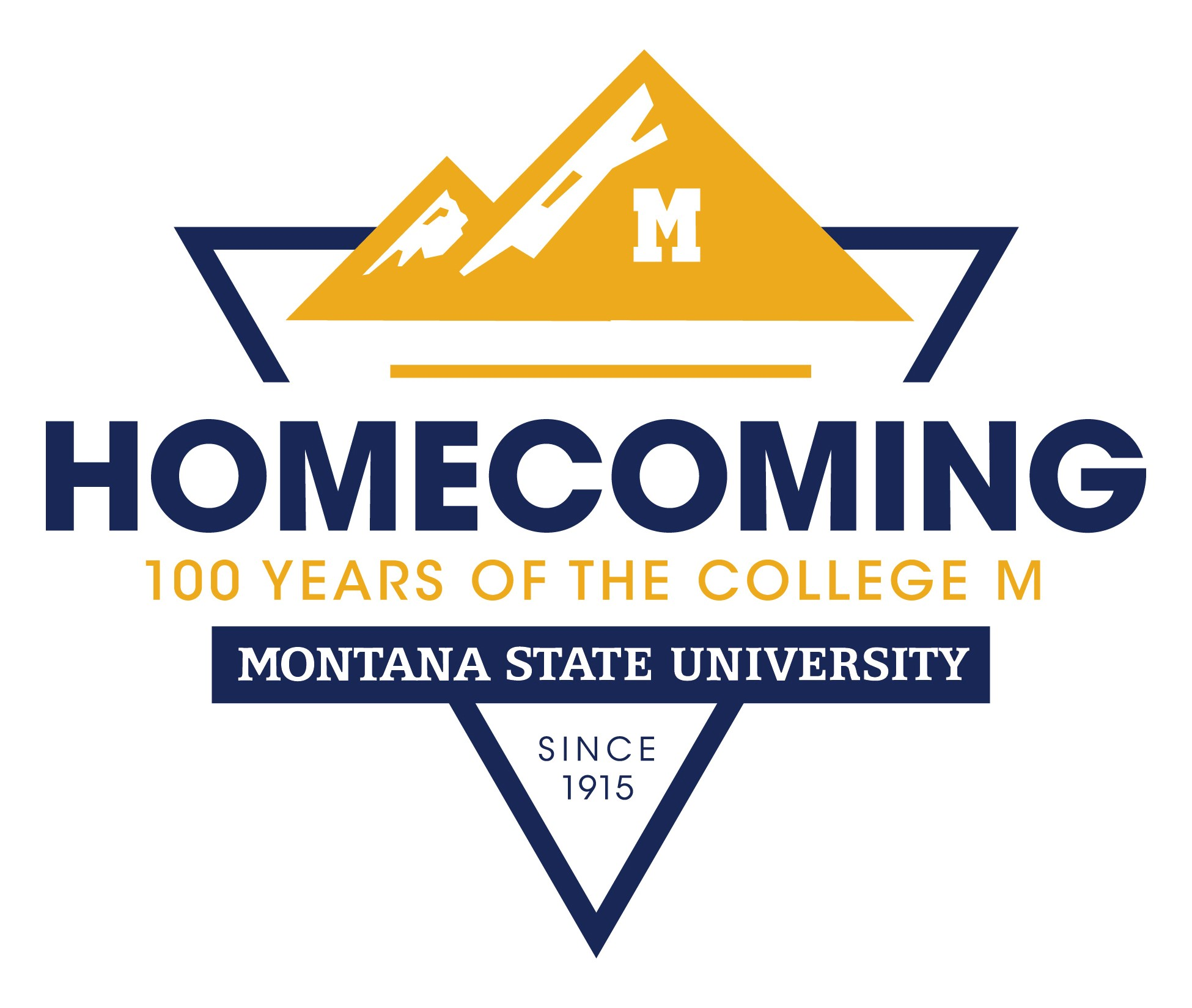 homecoming 100 years of the M logo