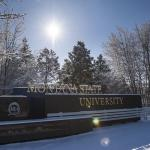 Photo of the College St. entrance to MSU covered in snow.