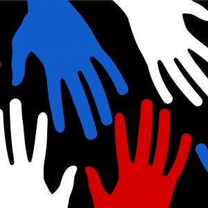 Red white and blue hands to represent populism.