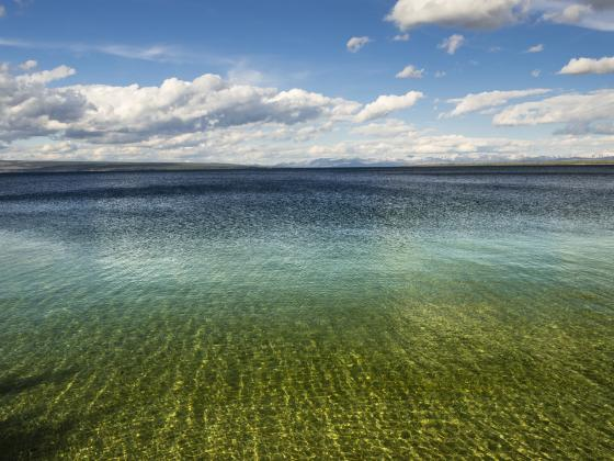 Color photograph of Yellowstone Lake.   MSU photo by Kelly Gorham