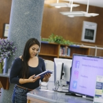 Students at Montana State University Renne Library.