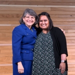 MSU employee Nilam Patel, University Communications, (right) is recognized by MSU President Waded Cruzado with an Excellence in Service award for Safety during the Annual Employee Recognition Awards.
