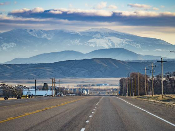 rural scene for article about MSU's Western Transportation Institute |