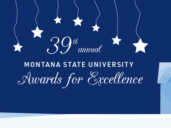"""Graphic of MSU's Montana Hall building with the text """"39th annual Montana State University Awards For Excellence"""" 