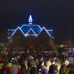 Hundreds of campus and community members gather for caroling, treats and holiday spirit during the first annual Lights on Montana Hall. MSU photo by Kelly Gorham