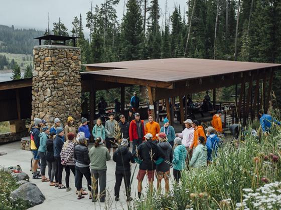 Montana State University incoming freshmen return from diverse backcountry trips and gather at the Hyalite Pavilion in Hyalite Canyon, near Bozeman, Montana. | Photo by Adrian Sanchez Gonzalez