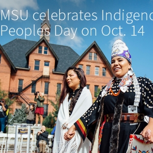 Celebrants gather on the Malone Centennial Mall for a ceremonial round dance during an Indigenous Peoples Day event at Montana State University.