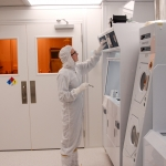 MSU engineering student working in a clean room.