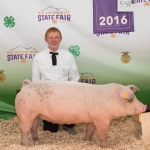 Local 4-H participant Riley Black is pictured with his pig Montana State University purchased at the recent Gallatin County Fair. Submitted photo.