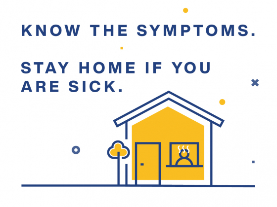 Cartoon image of a house with a sick person inside. Know the symptoms. Stay home if you are sick. | MSU