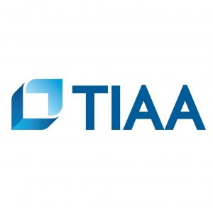 This is the logo of T I A A, the financial services company.