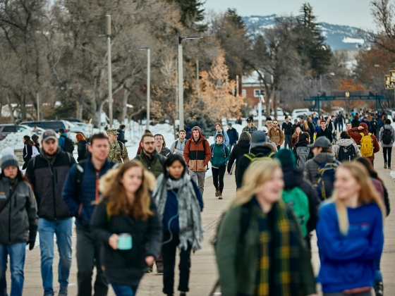 Montana State University students walk through campus during the first day of the 2019 spring semester, Wednesday, Jan. 9, 2019. | Adrian Sanchez-Gonzalez/MSU