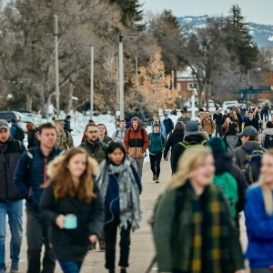 Montana State University students walk through campus during the first day of the 2019 spring semester, Wednesday, Jan. 9, 2019.