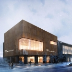 Norm Asbjornson Hall rendering in winter scene