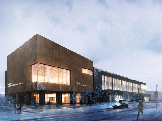 Norm Asbjornson Hall rendering in winter scene |