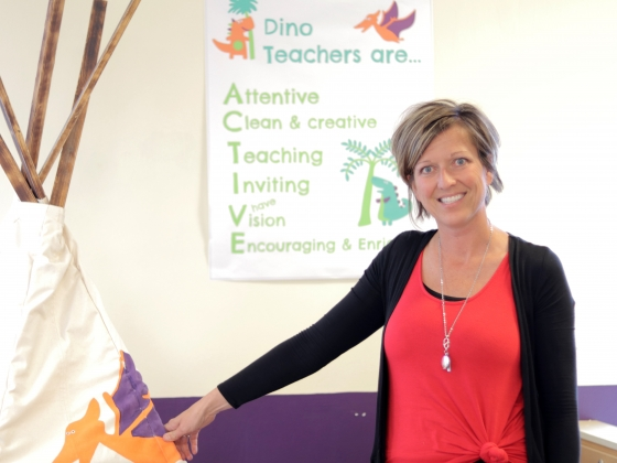 Jessica Dehn, an MSU alumna and founder of Dino Drop-In, has won a local InnovateHer competition hosted online and co-sponsored by the Blackstone LaunchPad at MSU. |